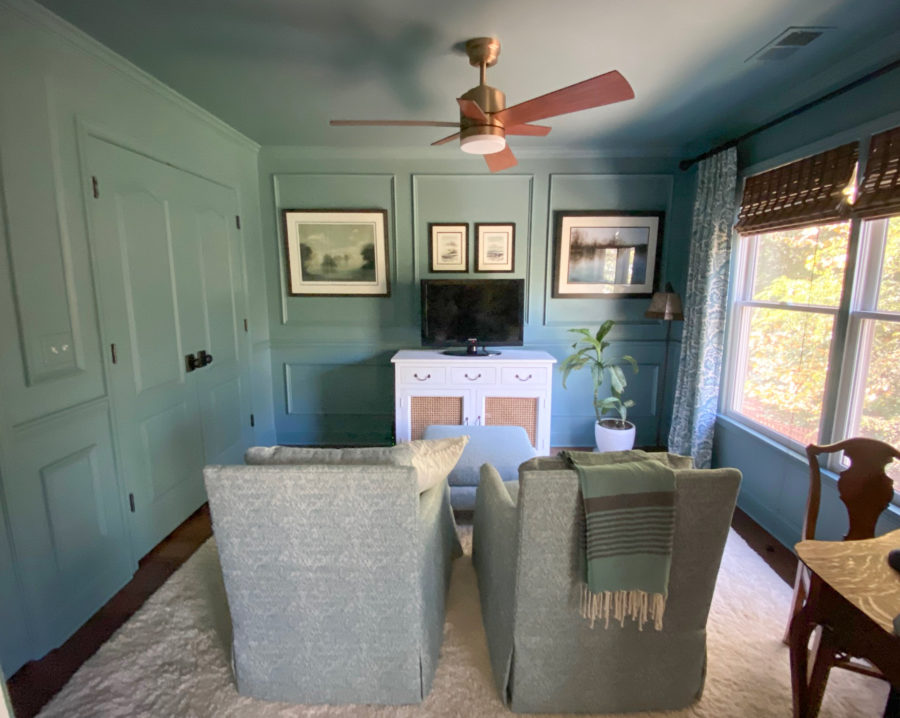 Moody Blue Sitting Room with Picture Frame Molding