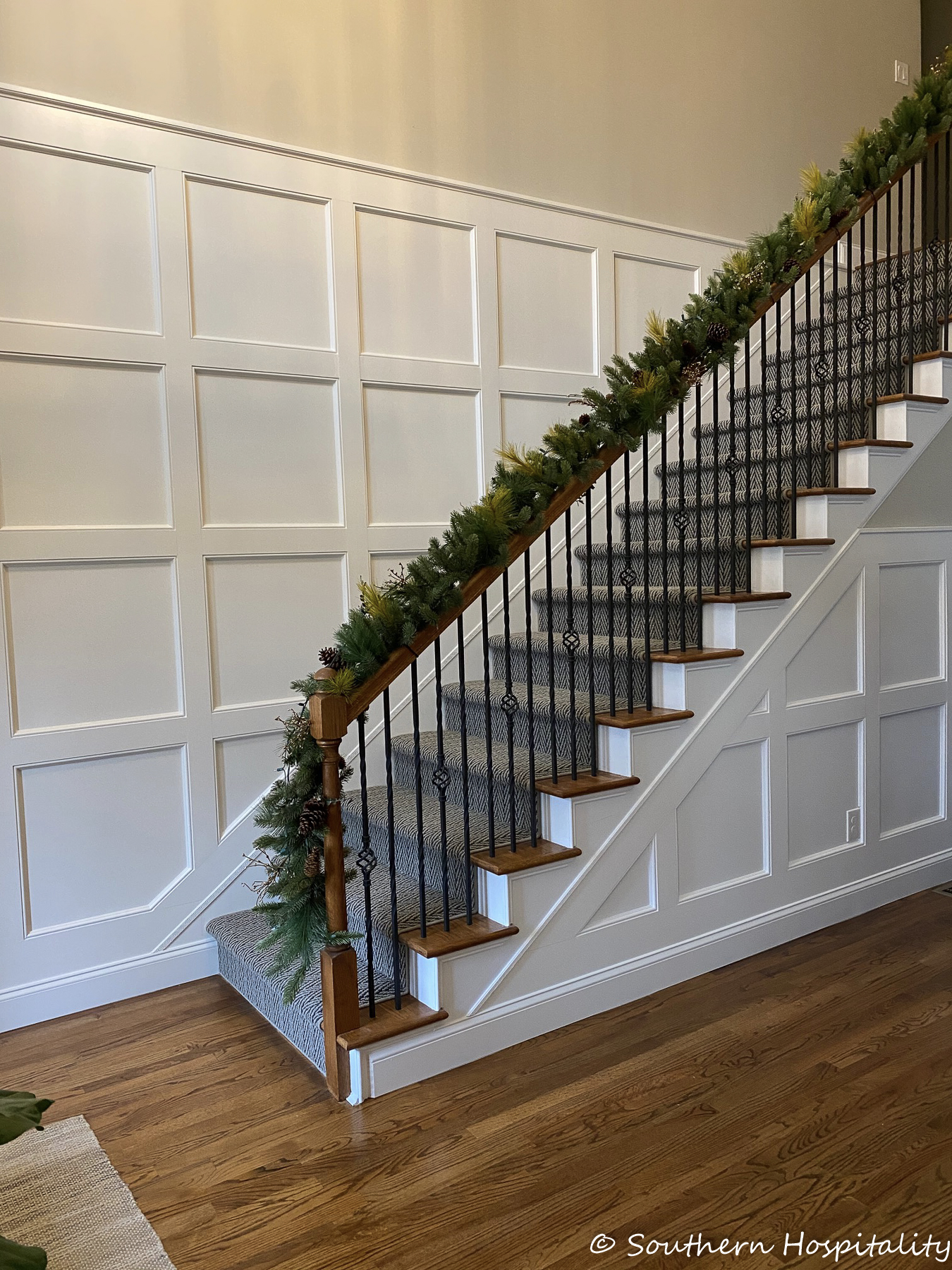 How to Add box molding to a stair wall